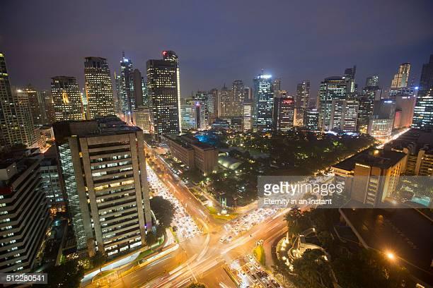 aerial view of manila at night, philippines - greater manila area stock-fotos und bilder