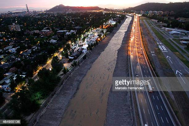 Aerial view of Mapocho river on February 14, 2015 in Santiago de Chile, Chile. Santiago will be one of the eight host cities of the next Copa America...