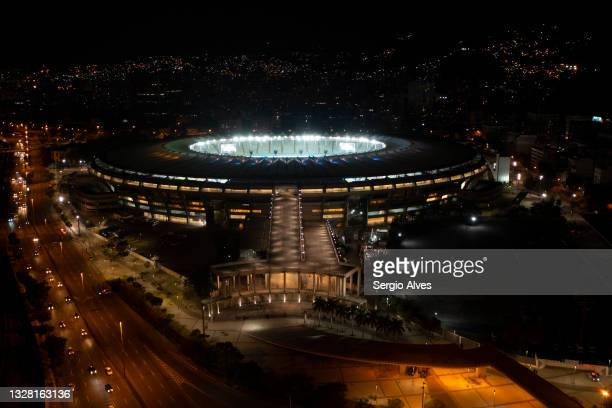 Aerial view of Maracana Stadium after the Copa America Brazil 2021 Final on July 10, 2021 in Rio de Janeiro, Brazil.
