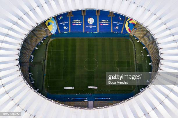 Aerial view of Maracana stadium on the day before the Copa America final match on July 09, 2021 in Rio de Janeiro, Brazil. Argentina and Brazil will...