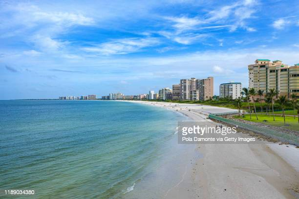 aerial view of marco island beach at gulf of mexico. marco island beach in florida - marco island stock pictures, royalty-free photos & images