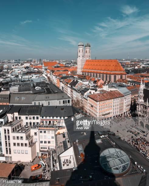 aerial view of marienplatz, munchen - glockenspiel stock photos and pictures