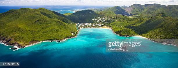 aerial view of marina and resort in st.martin - sint maarten caraïbisch eiland stockfoto's en -beelden
