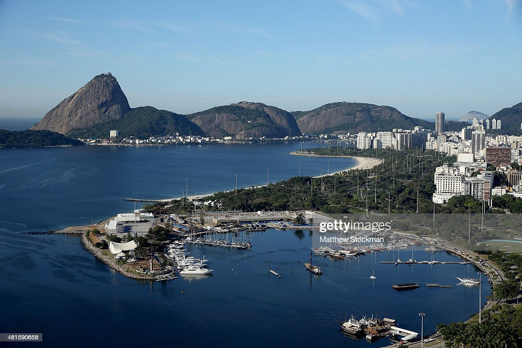 Aerial view of Marina da Gloria, the Sugar Loaf and Guanabara Bay with nearly one year to go to the Rio 2016 Olympic Games on July 21, 2015 in Rio de Janeiro, Brazil. Marina da Gloria will host the sailing competition during the Rio 2016 Olympic Games.