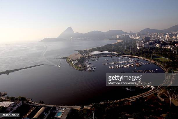 Aerial view of Marina da Gloria the Sugar Loaf and Guanabara Bay with six months to go to the Rio 2016 Olympic Games on February 2 2016 in Rio de...