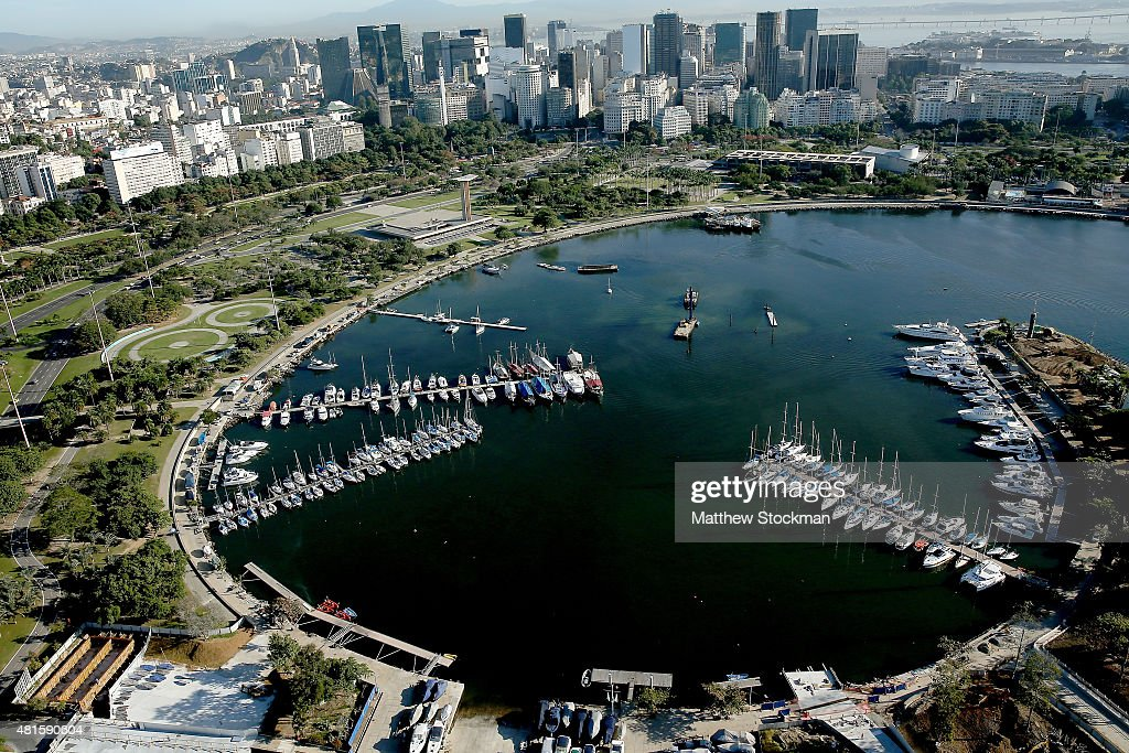 Aerial view of Marina da Gloria with nearly one year to go to the Rio 2016 Olympic Games on July 21, 2015 in Rio de Janeiro, Brazil. Marina da Gloria will host the sailing competition during the Rio 2016 Olympic Games.