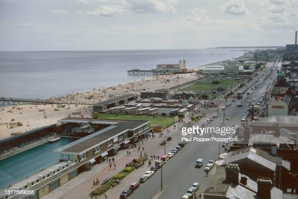 Aerial view of Marine Parade and the seafront of the seaside resort town of Great Yarmouth in Norfolk, England in September 1969. Visible in the...