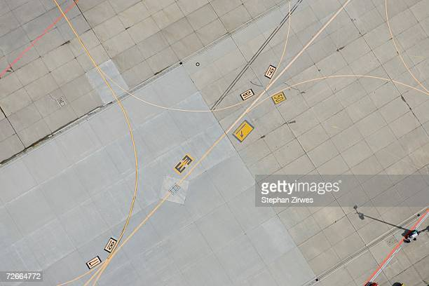 Aerial view of markings on airport tarmac