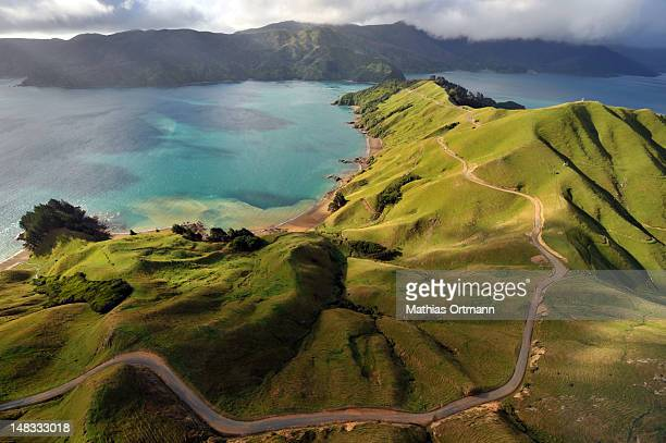 aerial view of marlborough sounds - new zealand stock pictures, royalty-free photos & images