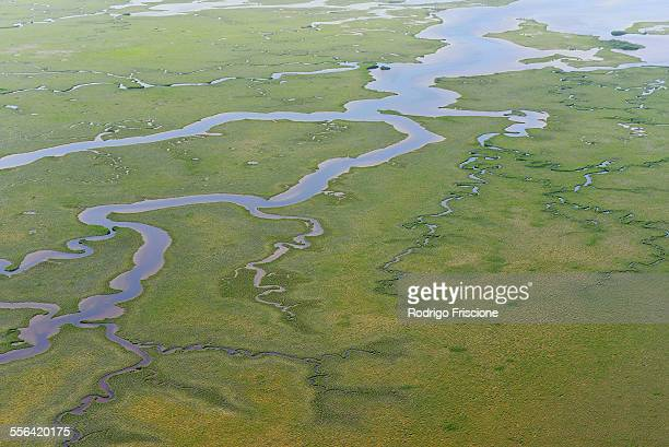 Aerial view of marshes and mangrove forest at Sian Kaan natural reserve, Quintana Roo, Mexico