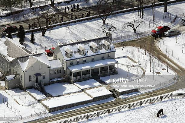 Aerial view of Martha Stewart's 153acre estate in Katonah NY the morning after her release from Alderson Federal Prison Camp where she served five...