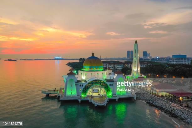 Aerial view of Masjid Selat Melaka at dusk,Malacca,Malaysia