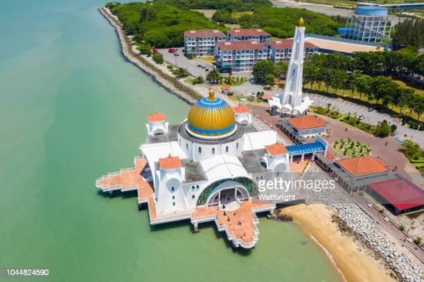 Aerial view of Masjid Selat Melaka,Malacca,Malaysia