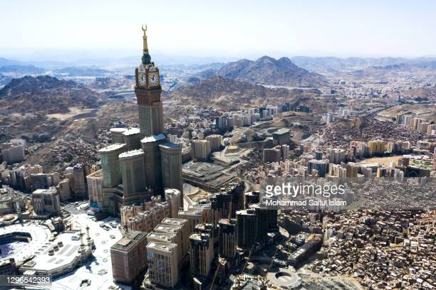 aerial view of masjid-al-haram in mecca in kingdom of saudi arabia, the holiest place for worship for the muslims - 東エルサレム ストックフォトと画像