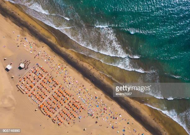 Luftaufnahme von Strand von Maspalomas, Maspalomas, Gran Canaria, Spanien.