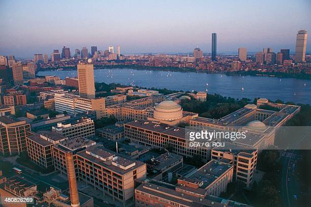 Aerial view of Massachusetts Institute of Technology with Boston Downtown in the background Cambridge Massachusetts United States of America