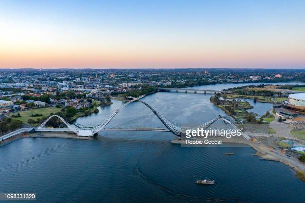 aerial view of matagarup bridge at sunset - perth australia stock pictures, royalty-free photos & images