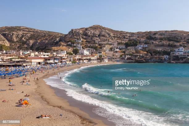 Aerial view of Matala beach, Heraklion, Crete,  Greece, Mediterranean