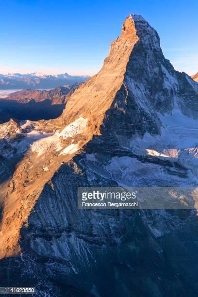 Aerial view of Matterhorn at sunrise. Zermatt, Canton of Valais, Switzerland, Europe