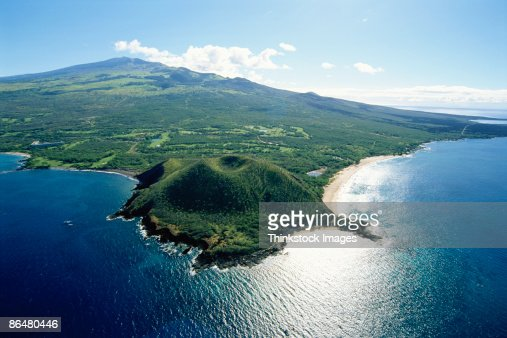 Aerial View Of Maui Coast Hawaii Stock Photo | Getty Images