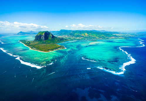 Aerial view of Mauritius island 864510358