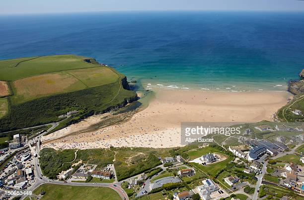 Aerial view of Mawgan Porth and coastline