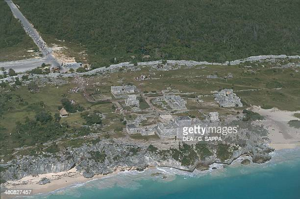 Aerial view of Mayan ruins at Tulum archaeological site Sian Ka'an Biosphere Reserve Quintana Roo Mexico