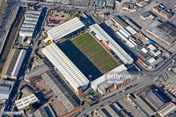 aerial view of meadow lane, home of notts county football club - club football stockfoto's en -beelden