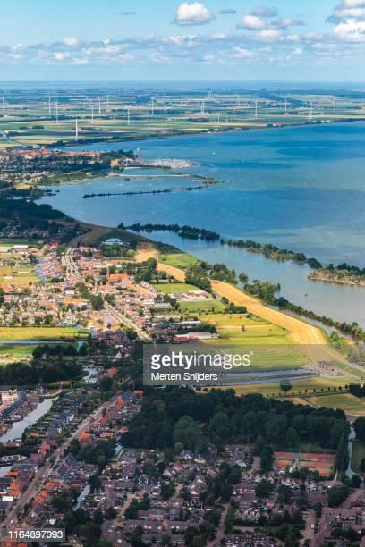 aerial view of medemblik at the ijsselmeer - merten snijders stock pictures, royalty-free photos & images