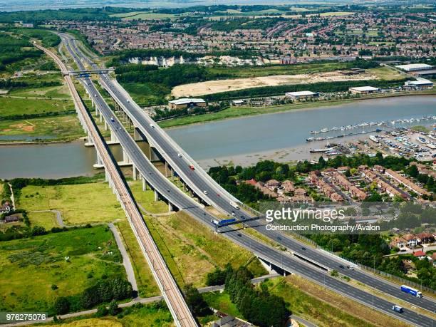 Aerial view of Medway Bridge Kent UK