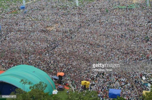 Aerial view of mega rally 'BJP Bhagao Desh Bachao' organised by Rashtriya Janata Dal at Gandhi Maidan on August 27 2017 in Patna India RJD Chief Lalu...
