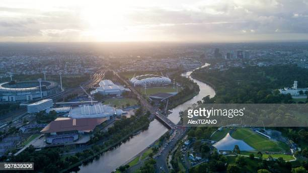 Aerial View of Melbourne at Dawn