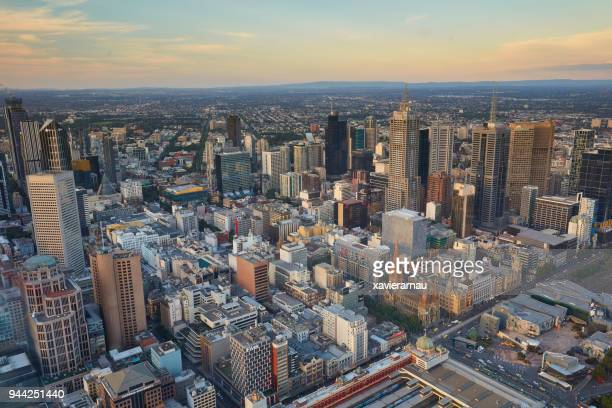 Aerial view of Melbourne at sunset, Australia
