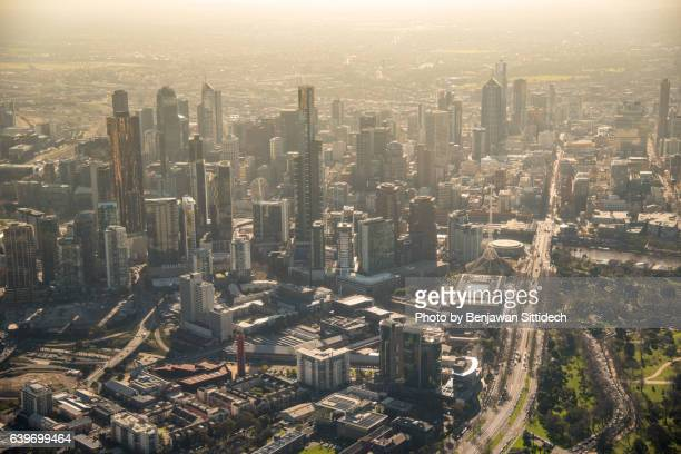Aerial view of Melbourne city at dusk, Australia