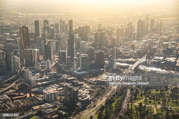 Aerial view of Melbourne city at dusk
