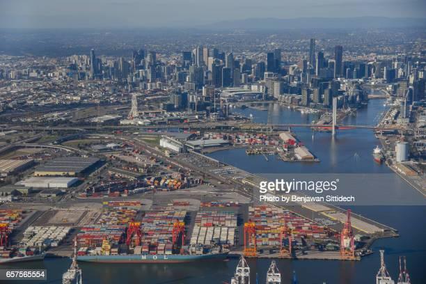 Aerial view of Melbourne city, Australia