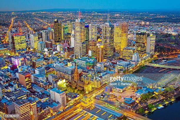 Aerial view of Melbourne city skyline