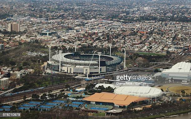 Aerial View Of Melbourne Cricket Ground Amidst Cityscape