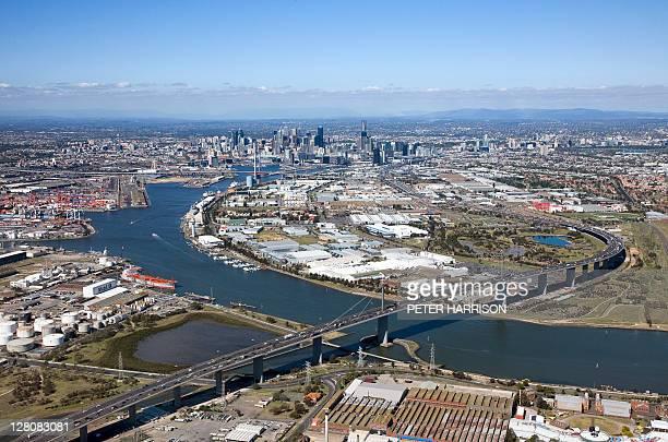 aerial view of melbourne, victoria. - ヤラ川 ストックフォトと画像
