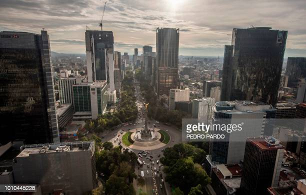 Aerial view of Mexico City and the Angel of Independence monument taken on August 3 2018