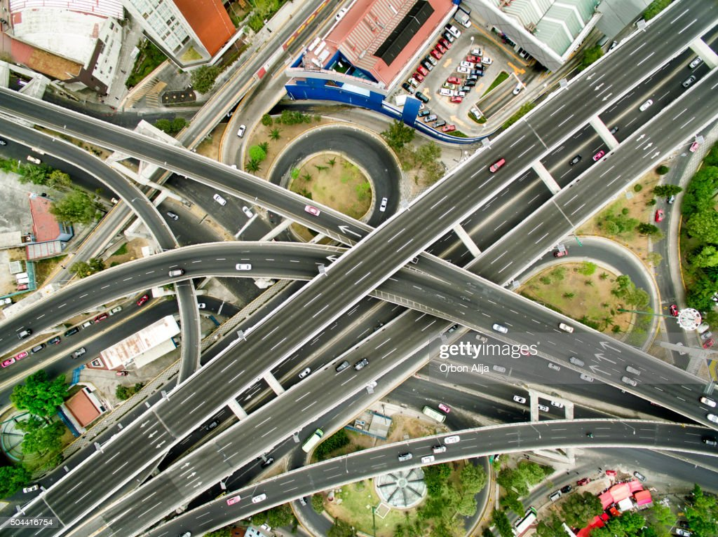 Aerial view of Mexico City highways : Stock Photo