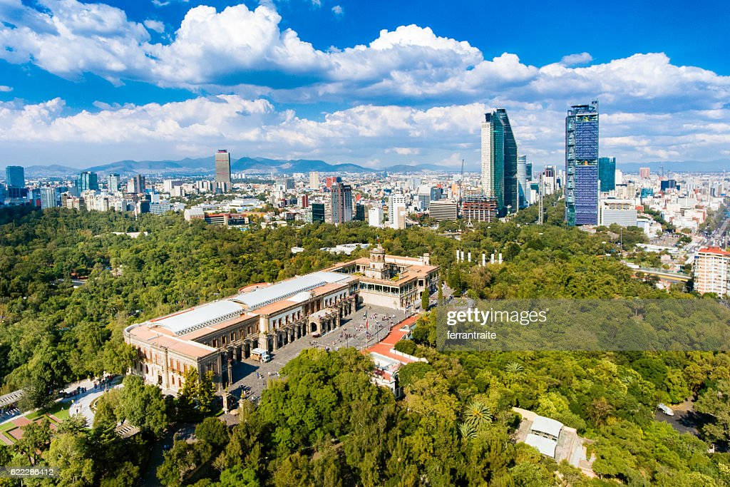 Aerial View of Mexico City skyline from Chapultepec Park : Stock Photo