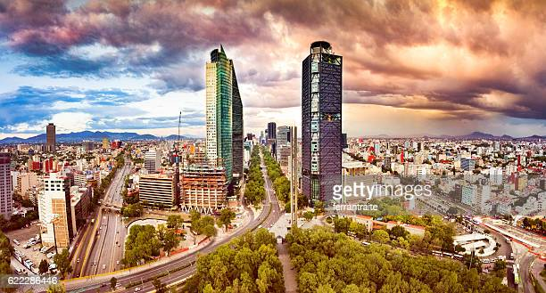 aerial view of mexico city skyline from chapultepec park - mexico city stock pictures, royalty-free photos & images