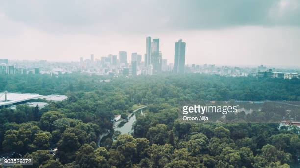 aerial view of mexico city skyline from chapultepec park - geographical locations stock pictures, royalty-free photos & images