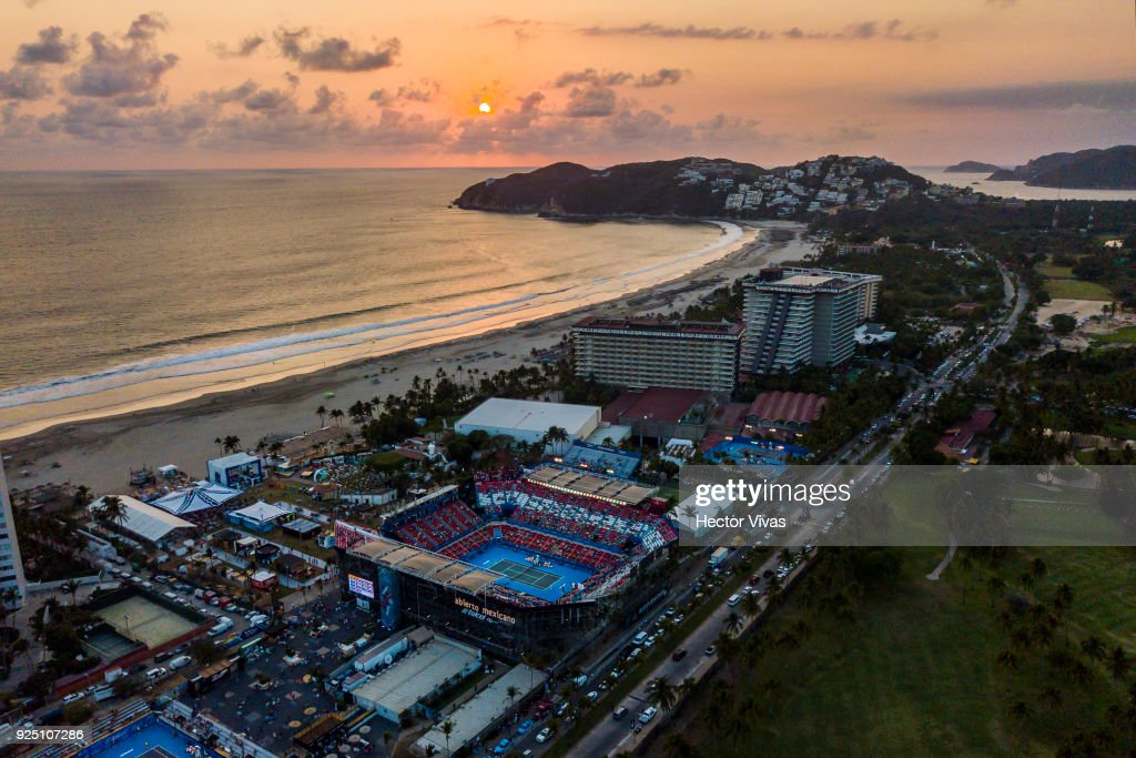 Aerial view of Mextenis Stadium during the Telcel Mexican Open 2018 at Mextenis Stadium on February 26, 2018 in Acapulco, Mexico.