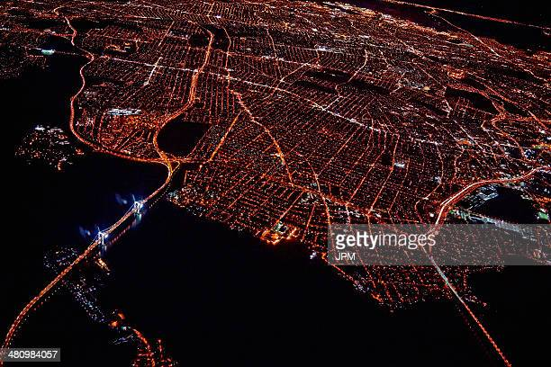 Aerial view of Miami at night, Florida, USA