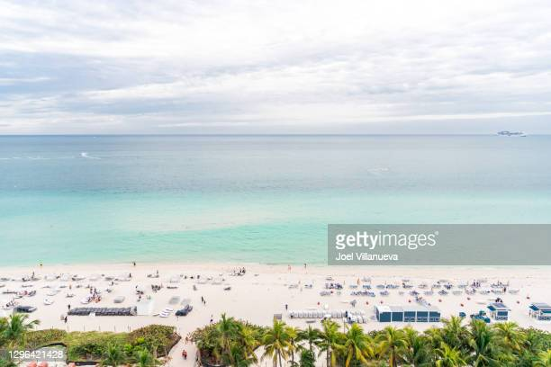 aerial view of miami beach in the sunshine state of florida. - florida us state stock pictures, royalty-free photos & images