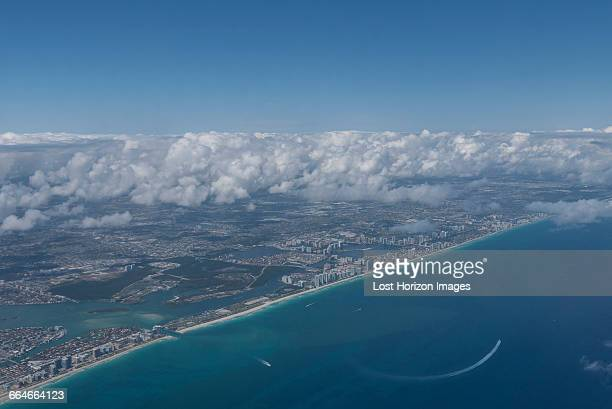 aerial view of miami beach, on the left bal harbour and on the right haulover beach, florida, usa - haulover beach stock photos and pictures