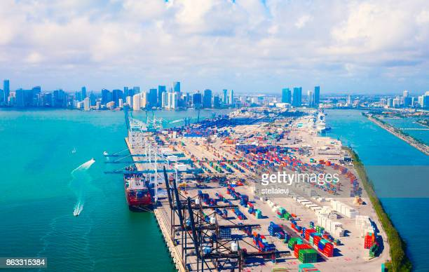 aerial view of miami harbor and downtown - harbour stock pictures, royalty-free photos & images