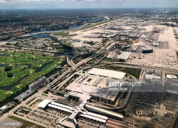 Aerial view of Miami International Airport in Miami Florida on May 26 2019